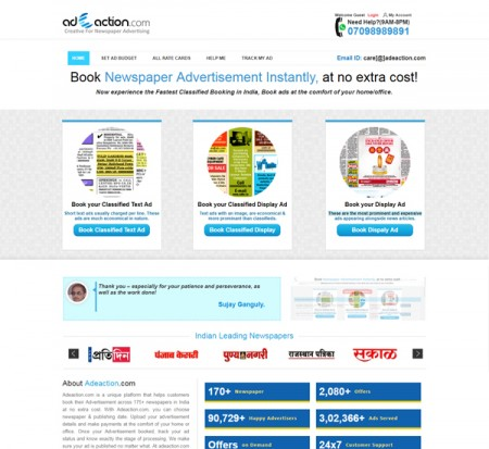 adeaction newspaper classified ads booking